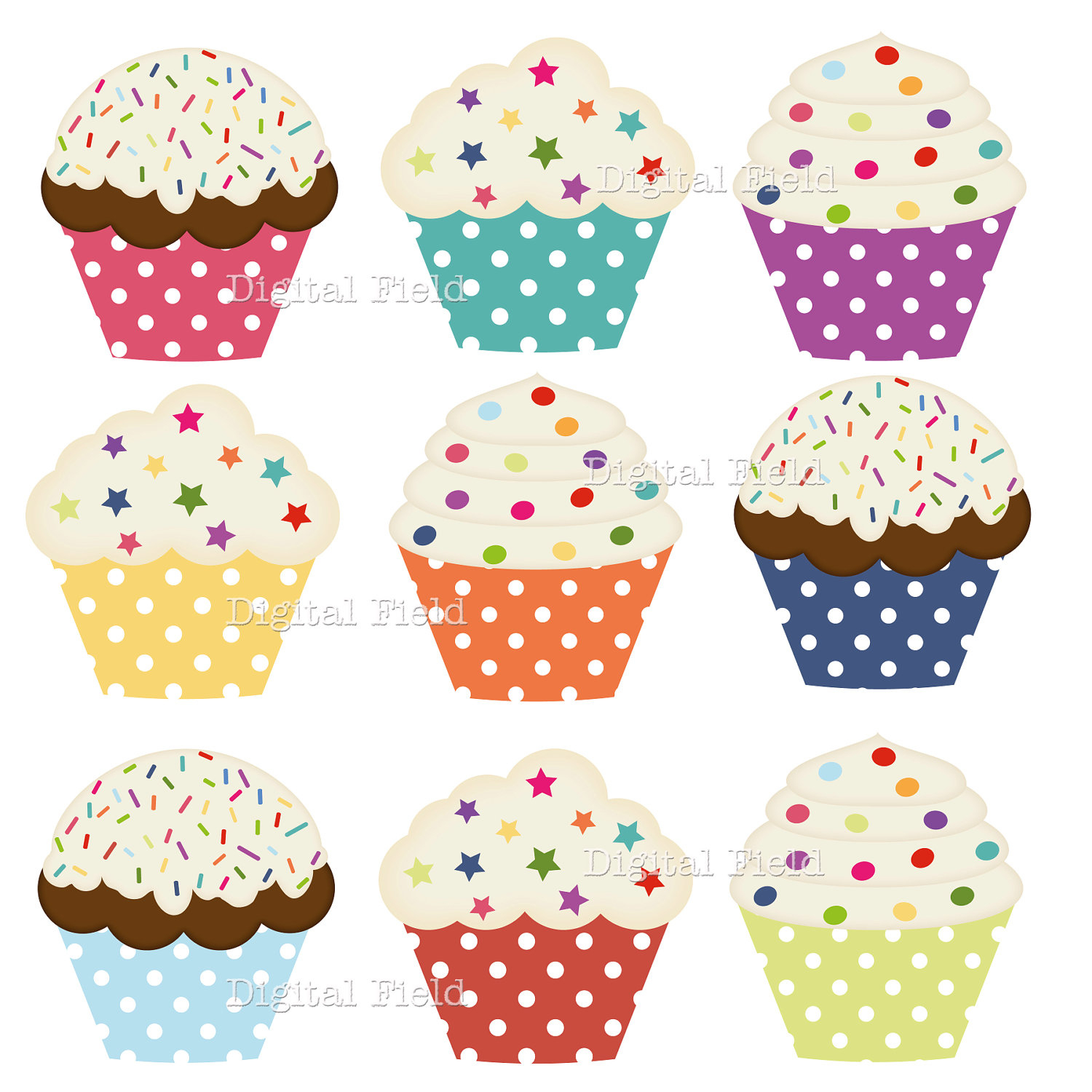 Printable Cupcake Clipart - Free Printable Cupcake Clipart