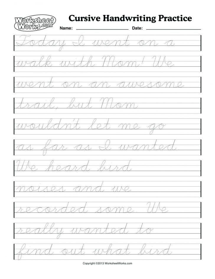 Free Printable Cursive Handwriting Worksheets