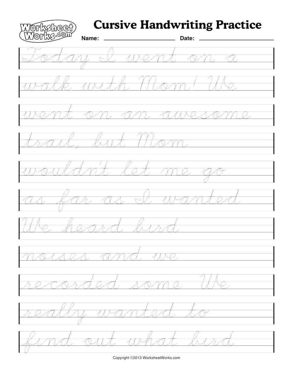 Printable Cursive Writing Worksheets Pdf Cursive Handwriting - Free Printable Script Writing Worksheets