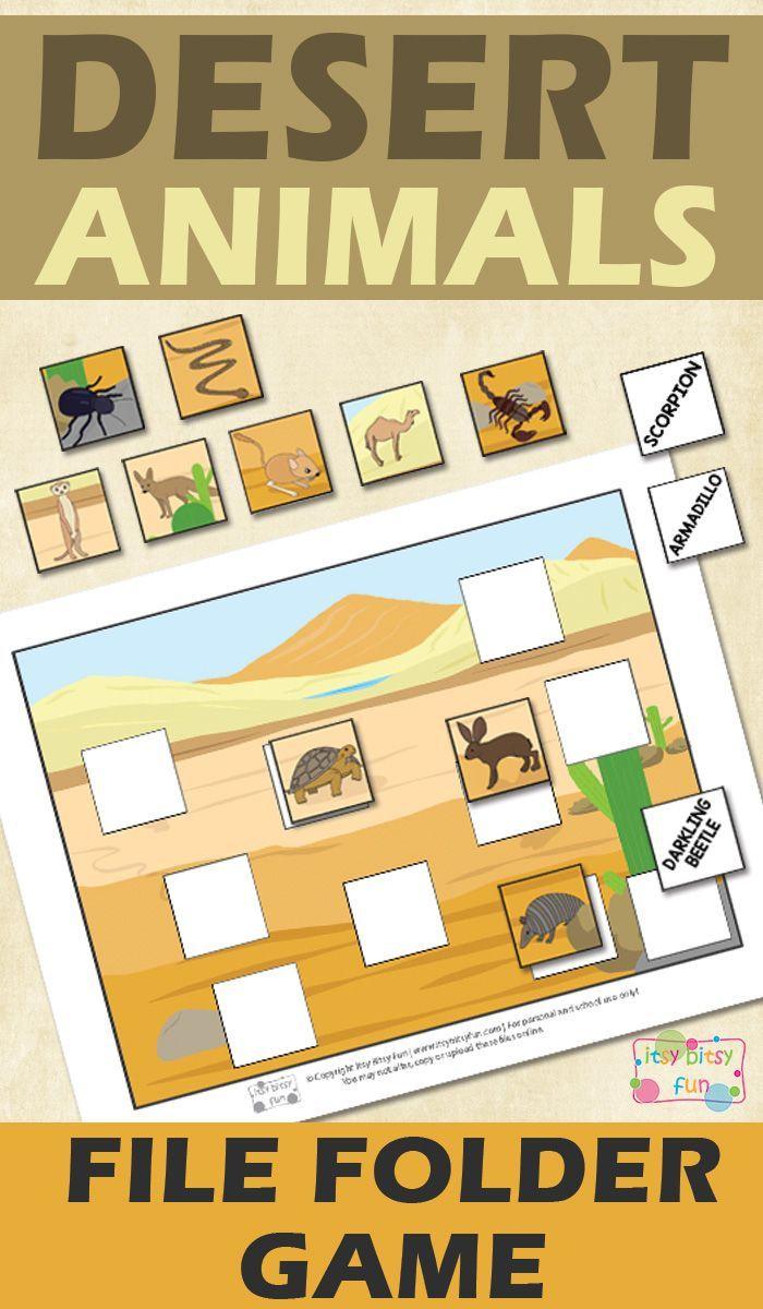 Printable Desert Animals File Folder Game   Homeschool   Pinterest - Free Printable Preschool Folder Games