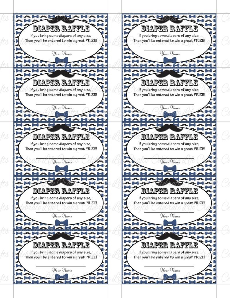 Printable Diaper Raffle Tickets Baby Shower Instant Download | Etsy - Free Printable Diaper Raffle Tickets Black And White