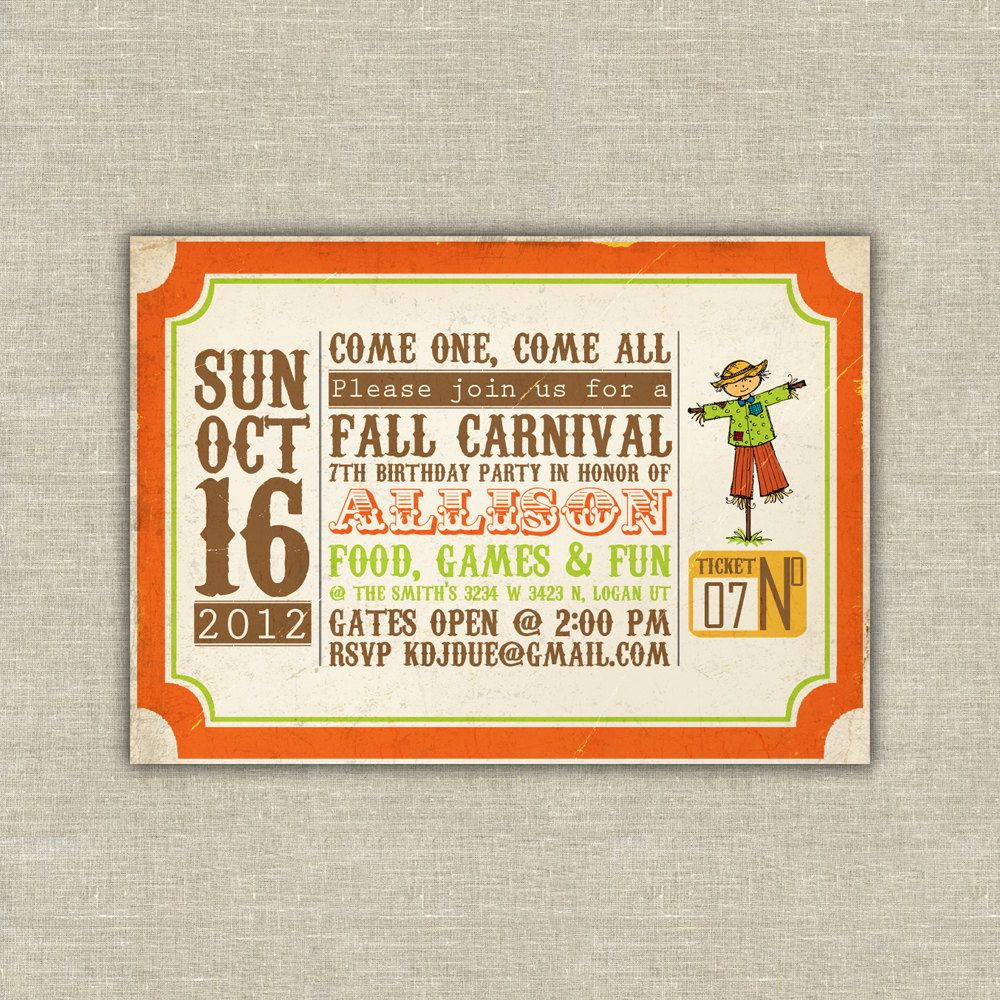 Printable Digital File Harvest Party Invitations, Scarecrow, Pumpkin - Free Printable Fall Festival Invitations