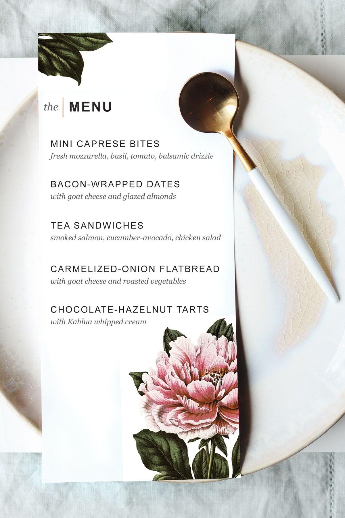 Printable Dinner Party Menu Template | Party Planning | Pinterest - Free Printable Wedding Menu Card Templates