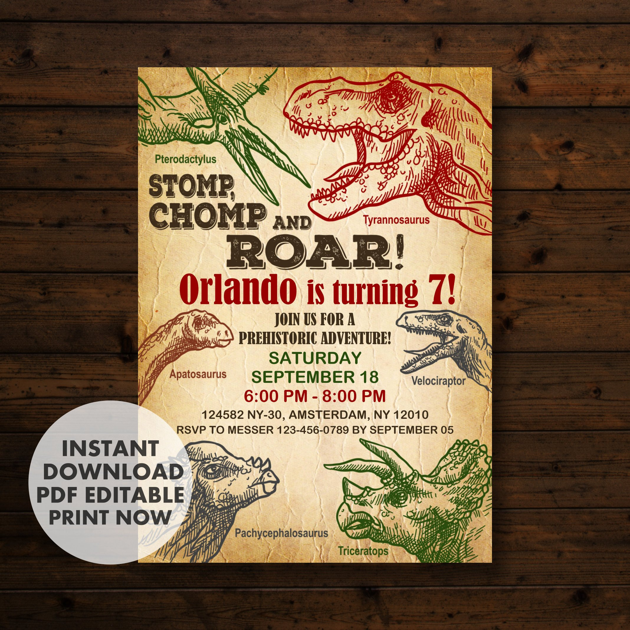 Printable Dinosaur Birthday Invitation Template - Epic Party Ideas - Free Printable Dinosaur Birthday Invitations