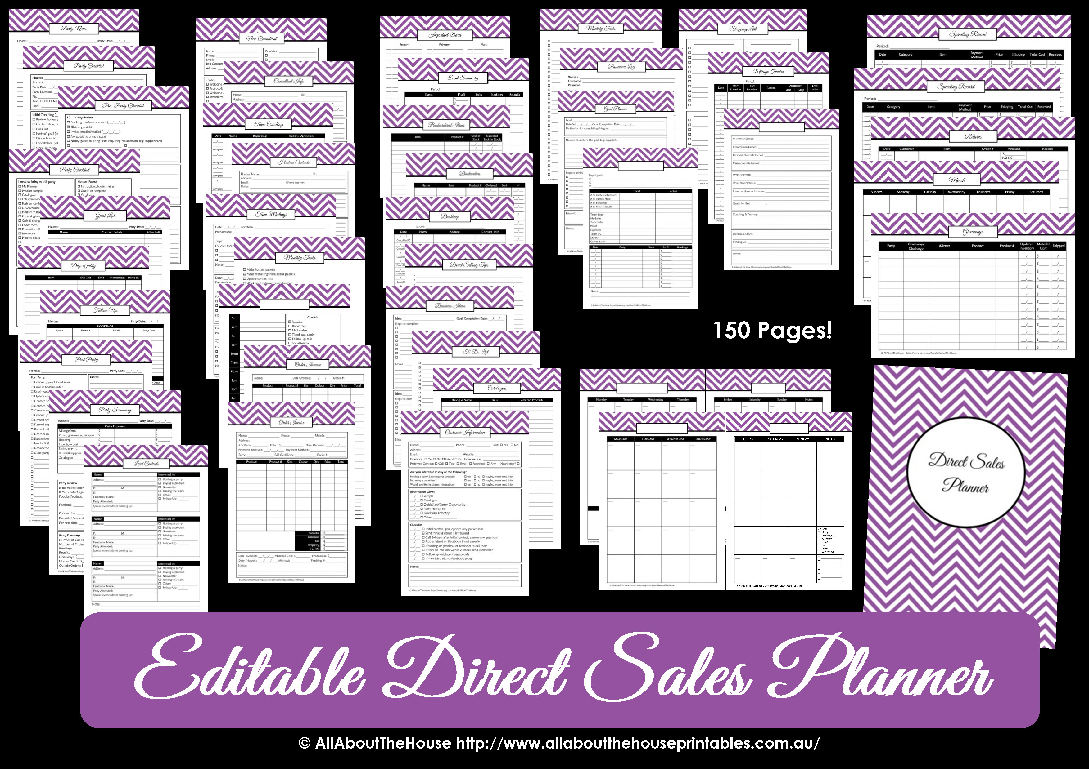 Printable Direct Sales Planner - Editable - All About Planners - Free Printable Scentsy Order Forms