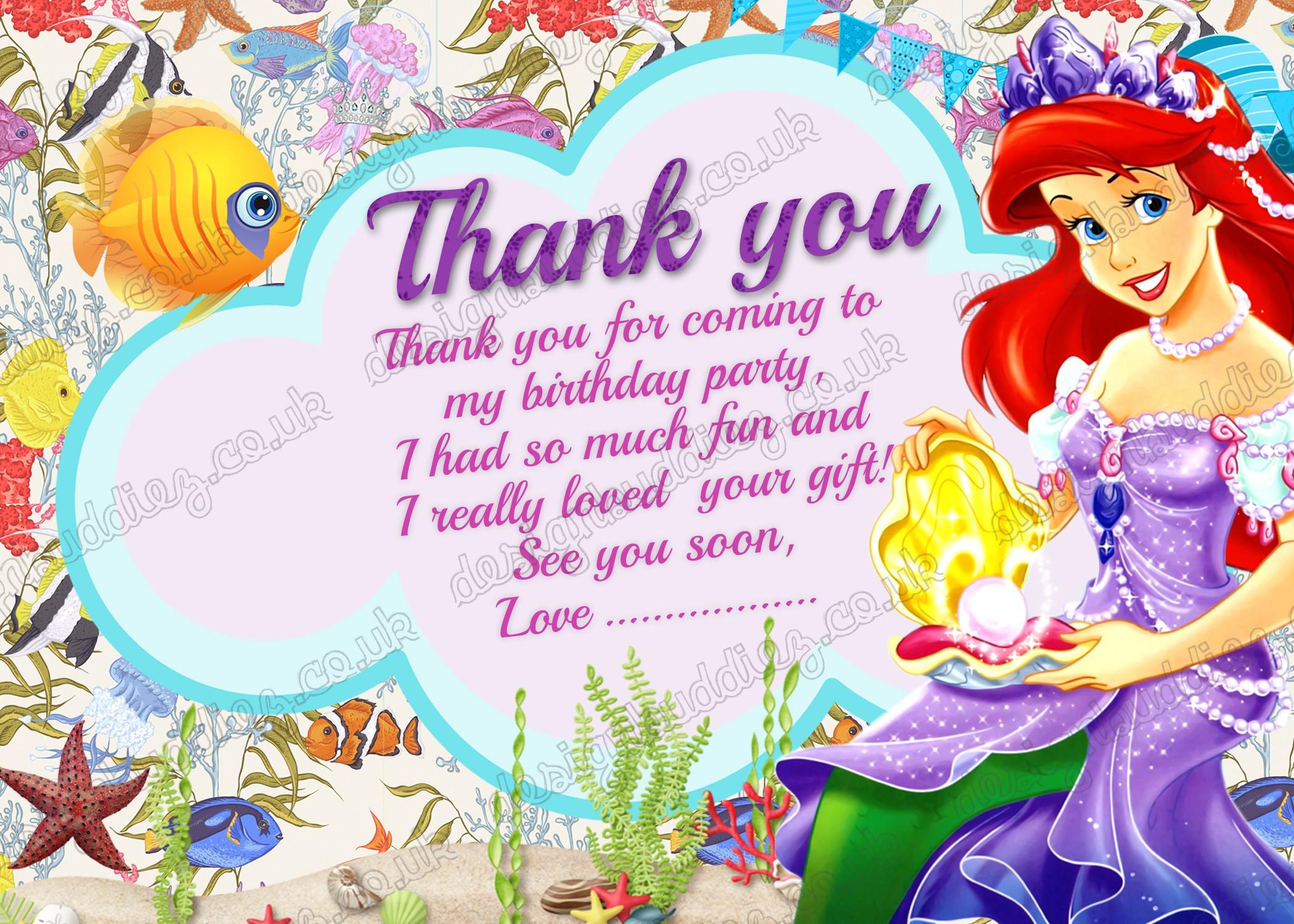 Printable-Disney-Princess-Ariel-Little-Mermaid-Thank-You-Card - Free Printable Mermaid Thank You Cards