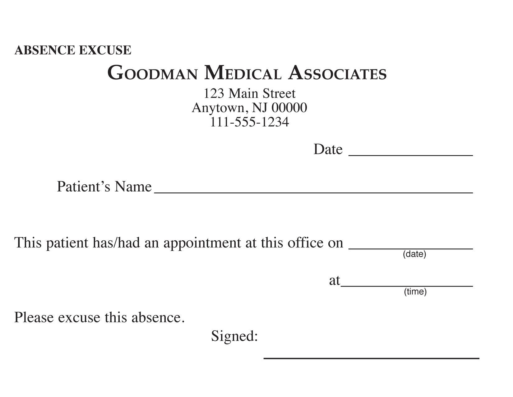 Printable Doctors Excuse - Mysembalun - Free Printable Doctor Excuse Slips
