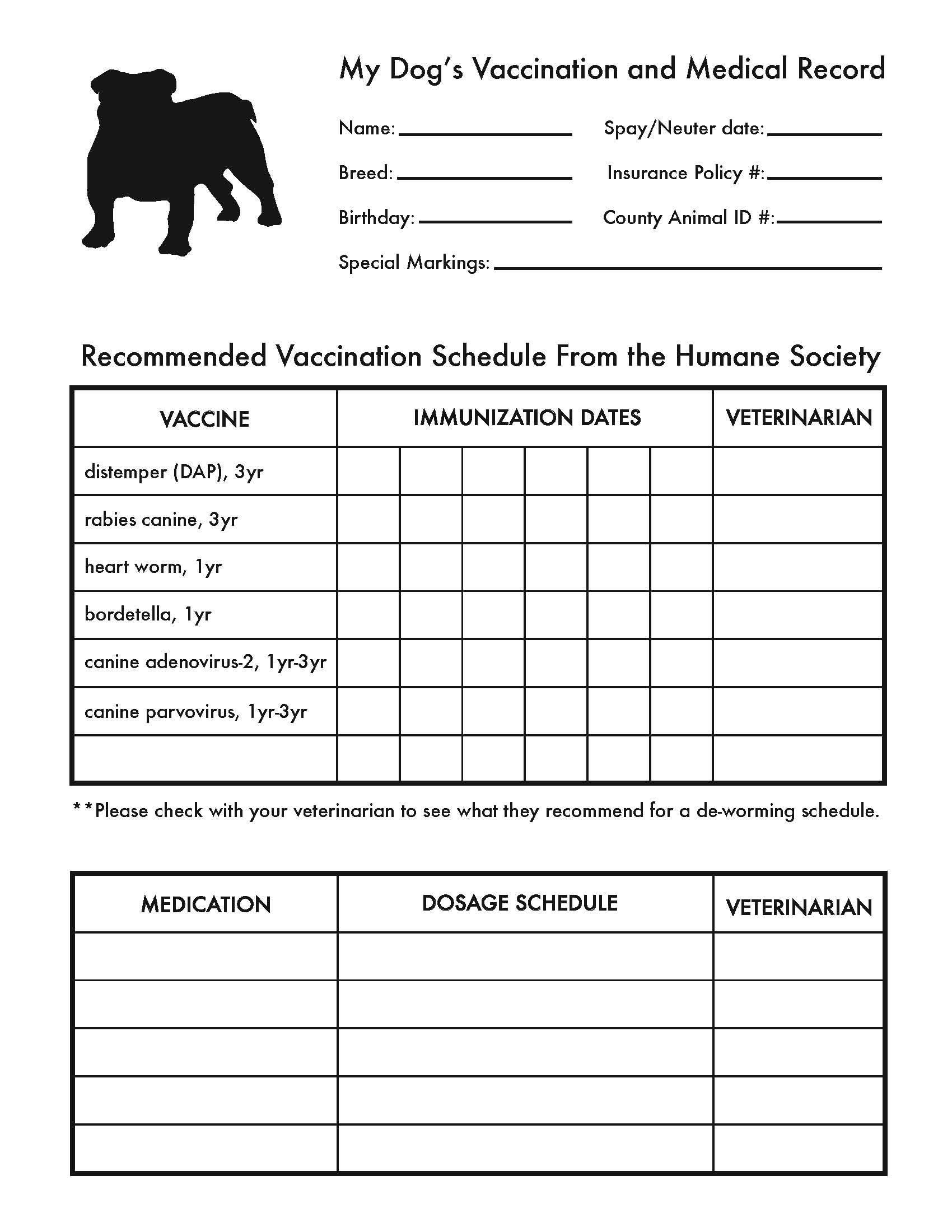 Printable Dog Shot Record Forms   Dog Shot Record   Dog Shots, Dog - Free Printable Dog Shot Records