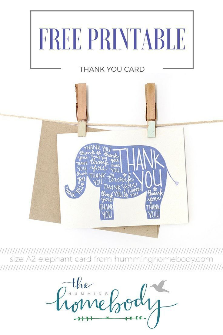 Printable Elephant Thank You Card | Printables | The Best Downloads - Free Printable Baby Registry Cards