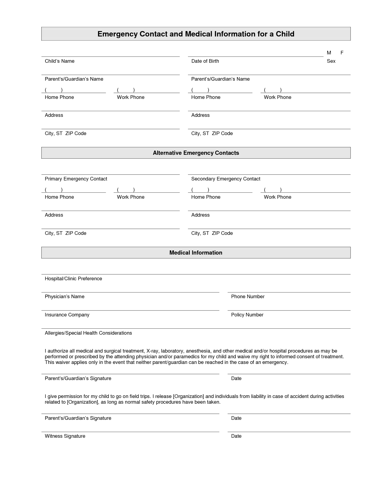 Printable Emergency Contact Form Template | Home Daycare | Pinterest - Free Printable Daycare Forms