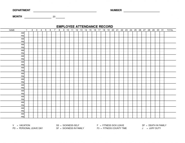 Free Printable Attendance Forms For Teachers