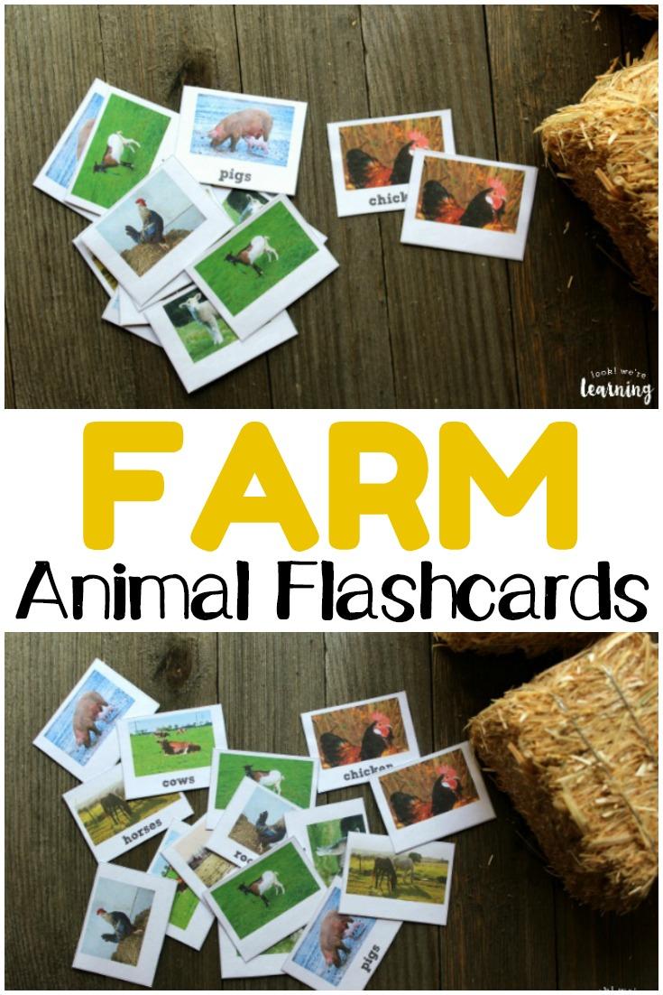 Printable Farm Animal Flashcards - Look! We're Learning! - Free Printable Farm Animal Flash Cards