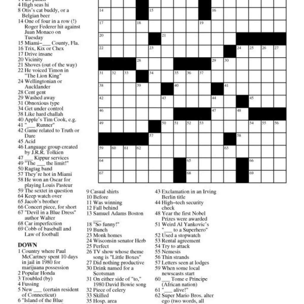 Printable Free Crosswords & Free Printable Crossword Puzzles Sc 1 - Free Daily Printable Crosswords