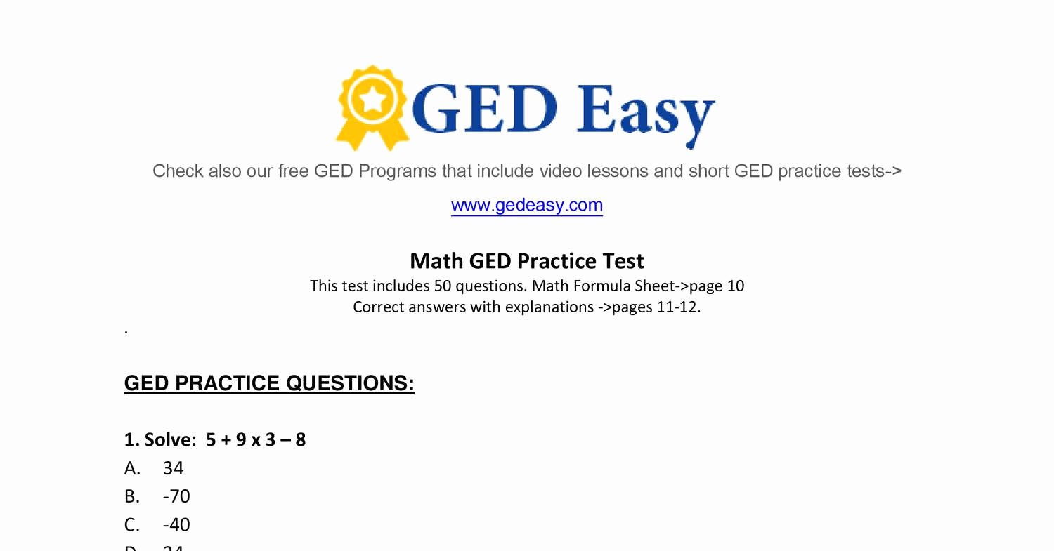 Printable Ged Practice Test Pdf Awesome Math Worksheets Printable - Ged Reading Practice Test Free Printable