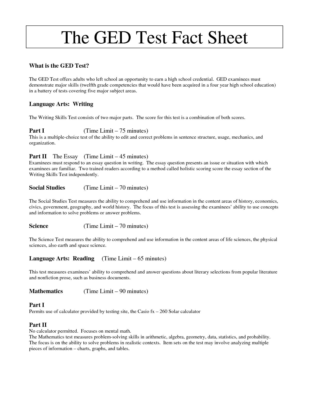 Printable Ged Reading Practice Test   Download Them Or Print - Free Printable Ged Worksheets
