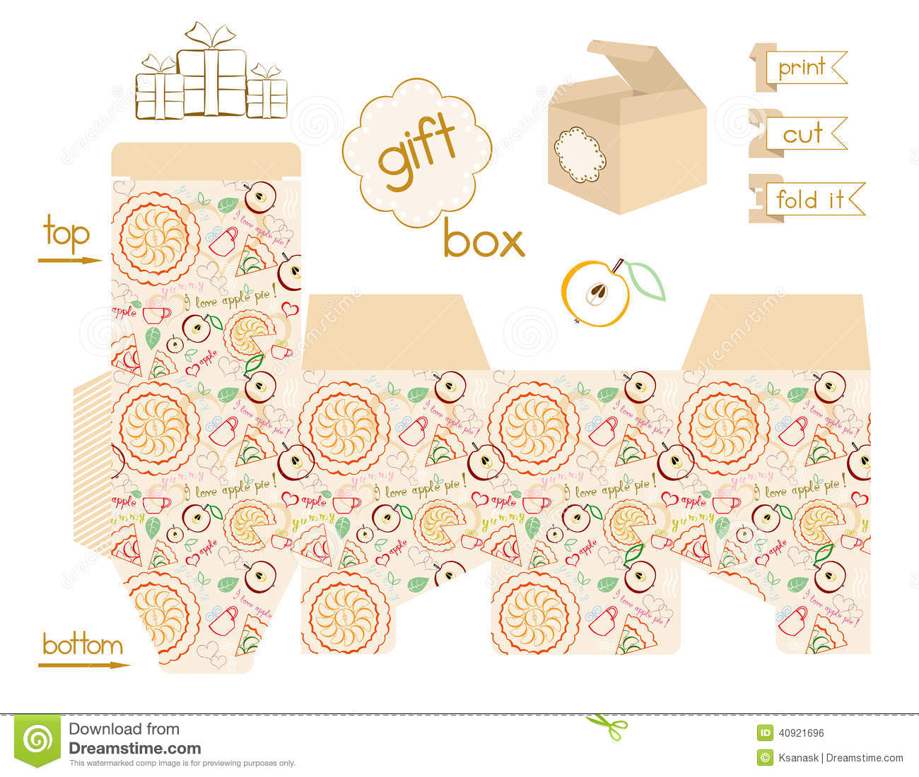 Printable Gift Box Apple Pie Pattern Stock Vector - Illustration Of - Free Printable Gift Boxes