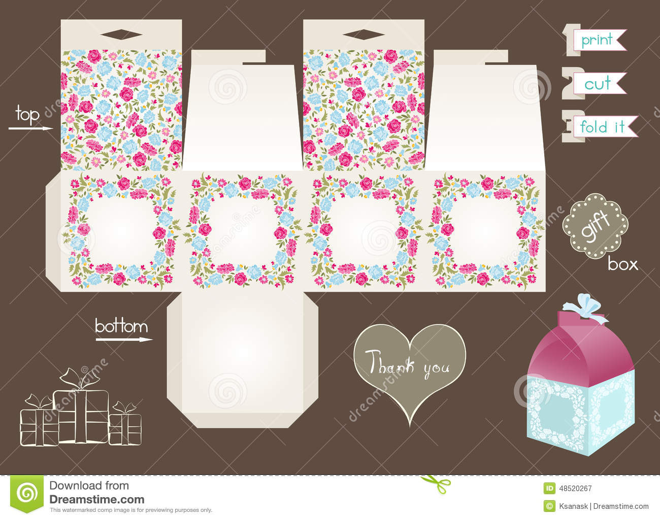Printable Gift Box With Floral Pattern Stock Vector - Illustration - Printable Box Templates Free Download