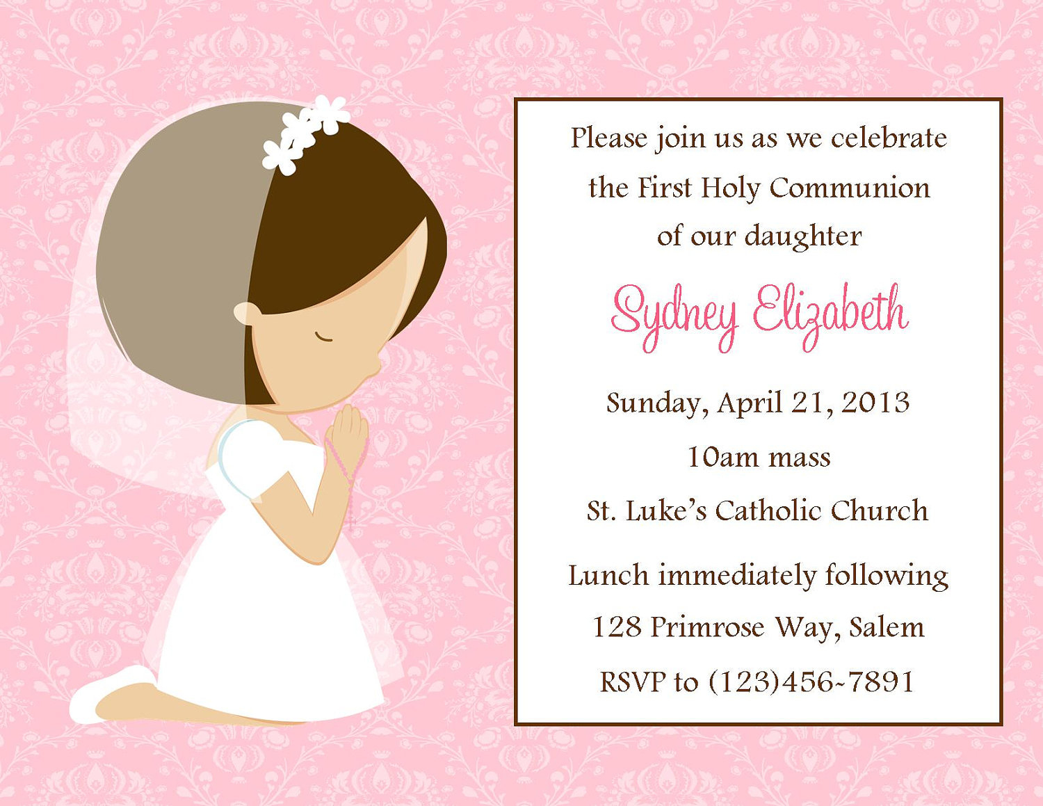 Printable Girl First Communion Clipart - Free Printable 1St Communion Invitations