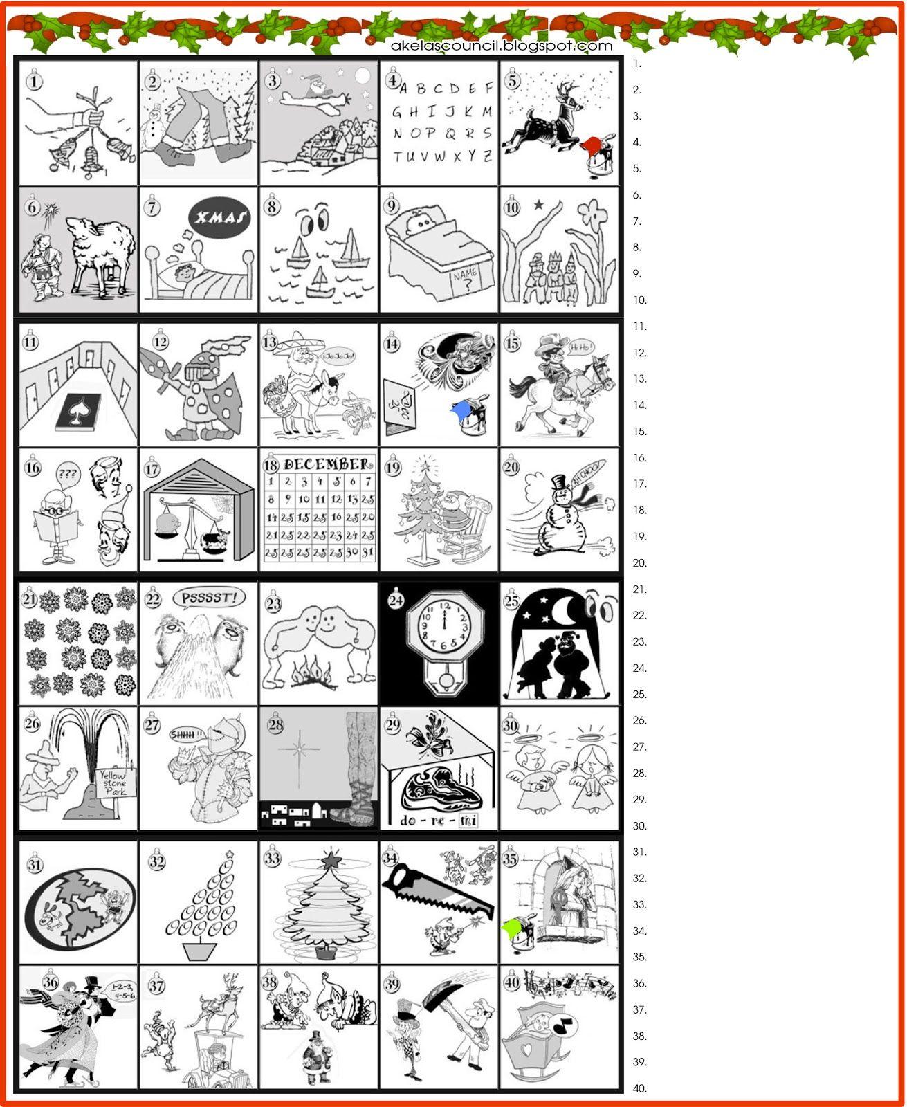 Printable * Guess The Christmas Songs Or Carols Word Puzzle - Free Printable Christmas Puzzle Sheets