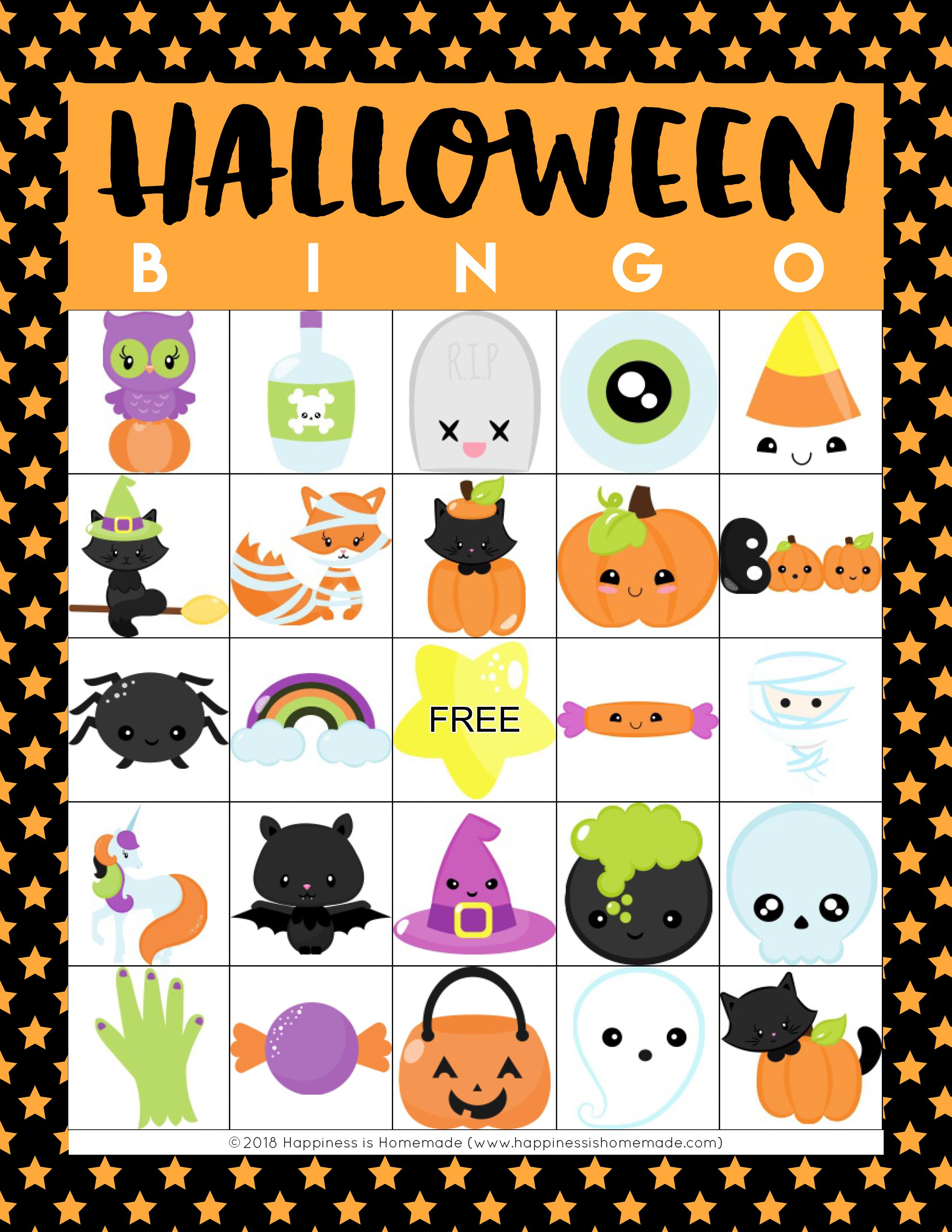 Printable Halloween Bingo Cards - Happiness Is Homemade - Free Printable Halloween Bingo