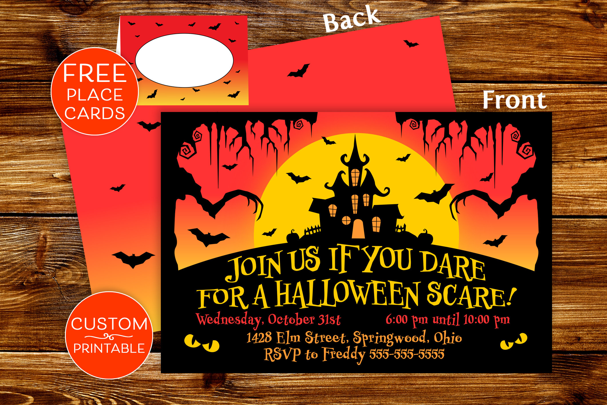 Printable Halloween Party Invitations Spooky Invite Custom | Etsy - Free Printable Halloween Place Cards