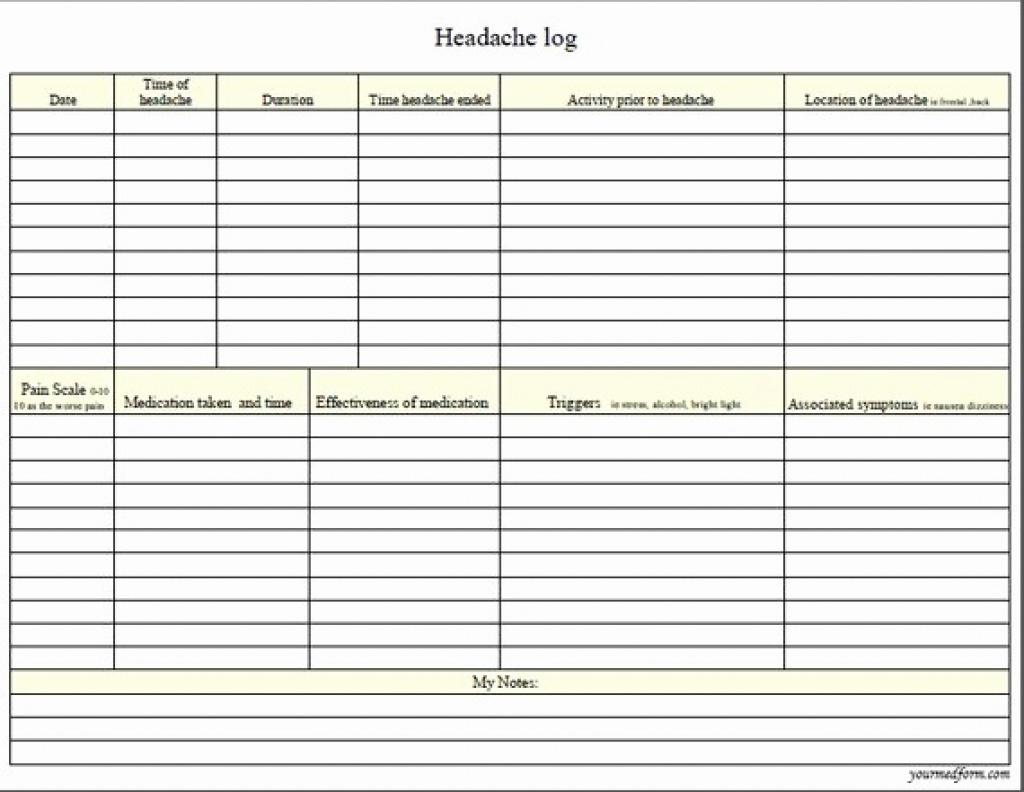 Printable Headache Log Awesome Headache Log Physic Minimalistics - Free Printable Headache Diary