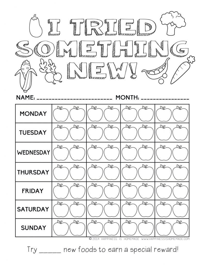 Printable Healthy Eating Chart & Coloring Pages - Happiness Is Homemade - Free Printable Healthy Eating Worksheets
