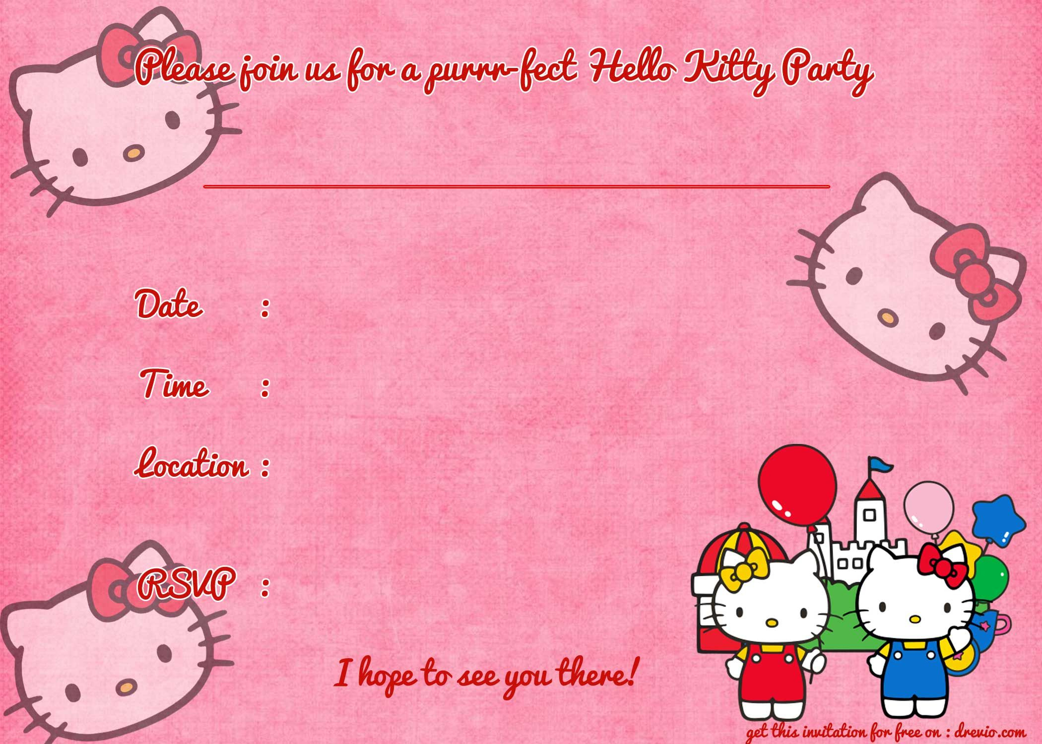 Printable Hello Kitty Birthday Invitation | Party | Pinterest - Hello Kitty Free Printable Invitations For Birthday
