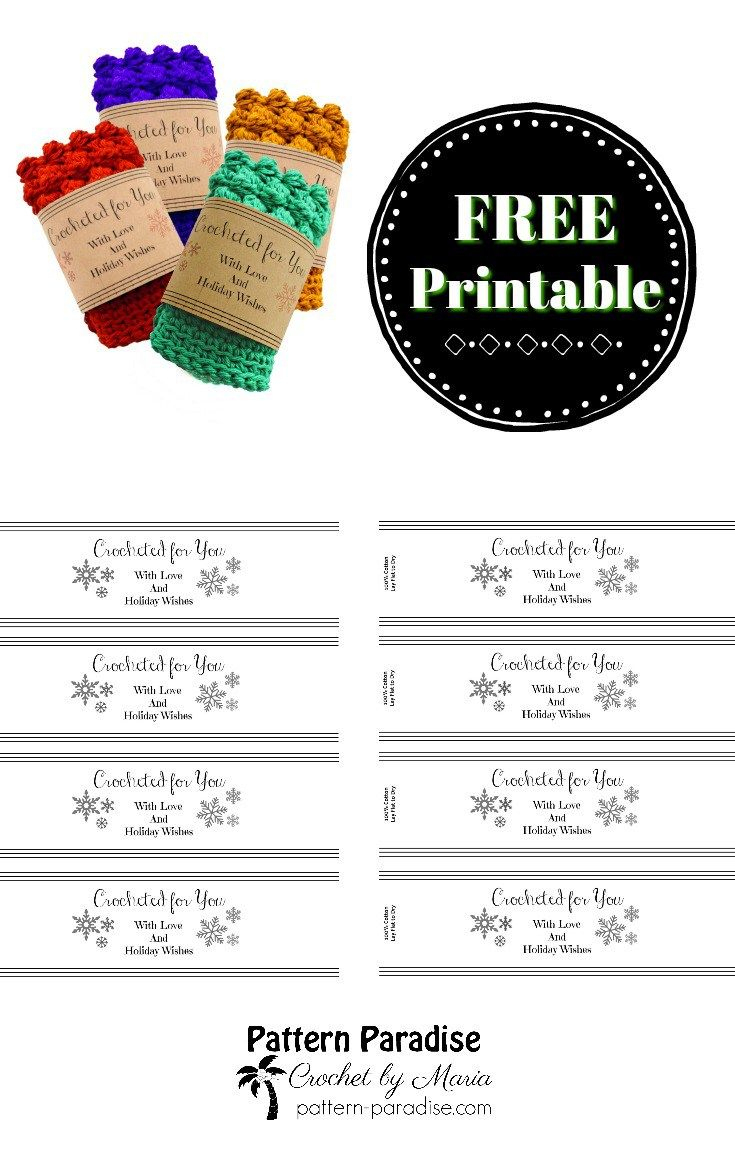 Printable: Holiday Crocheted For You Template | Dishcloth - Free Printable Dishcloth Wrappers