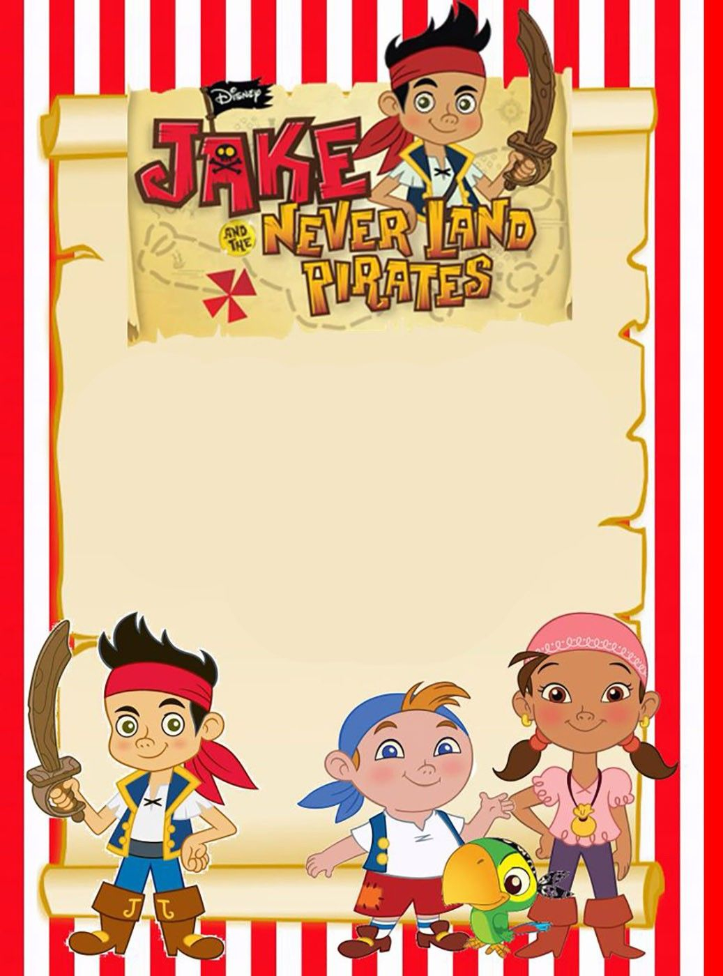 Printable Jake And Neverland Pirates Invitation Template - Free Printable Jake And The Neverland Pirates Cupcake Toppers