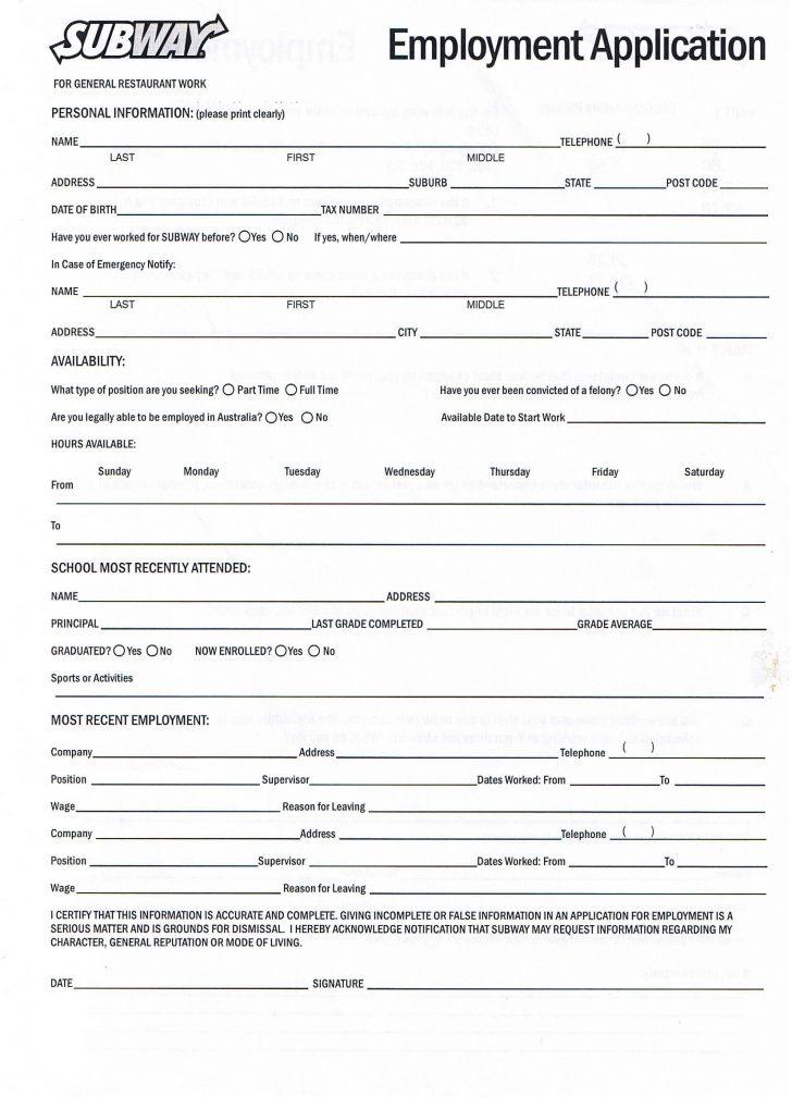 Free Printable Job Application