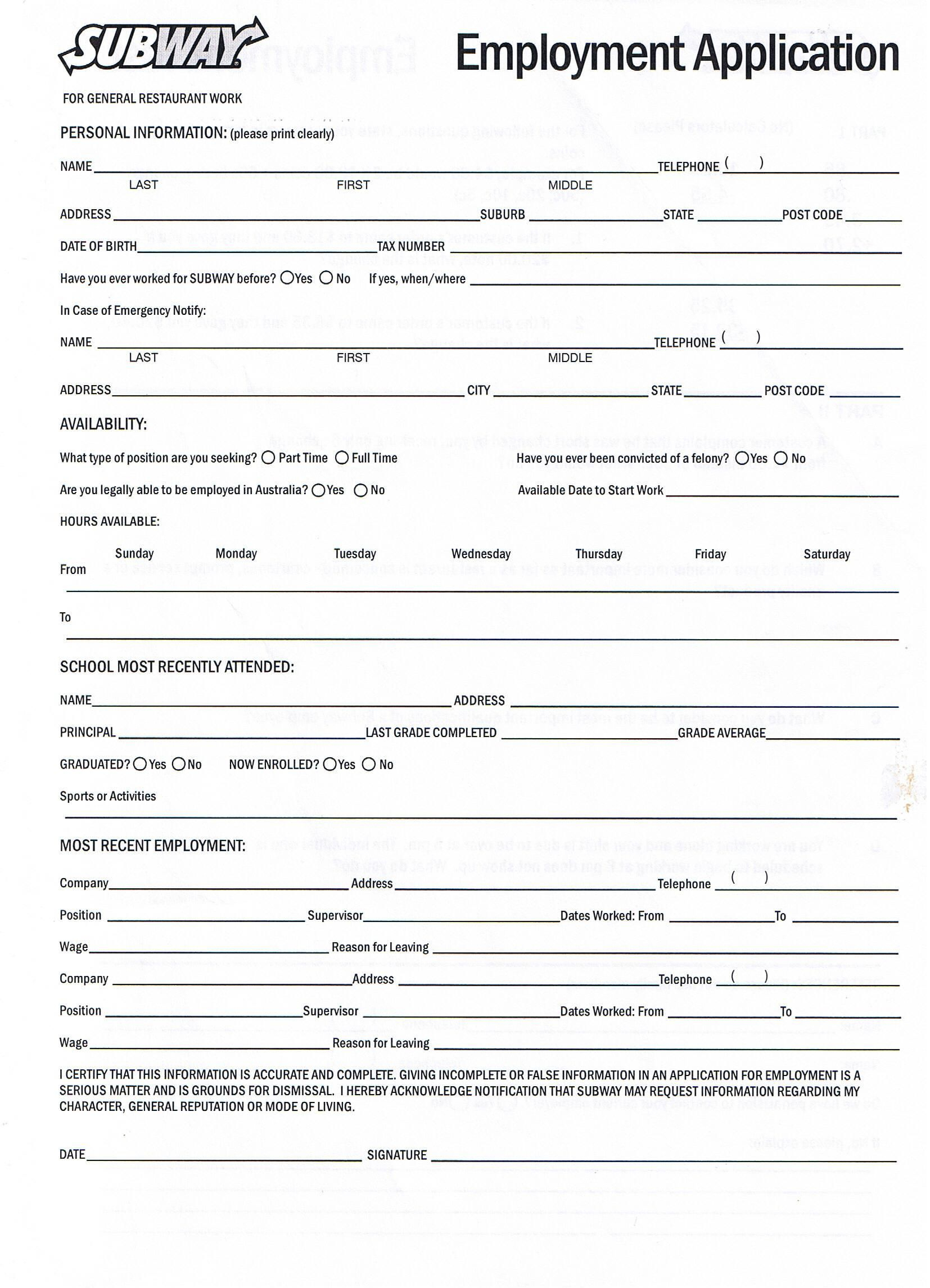 Printable Job Application Forms Online Forms, Download And Print - Free Printable Job Application