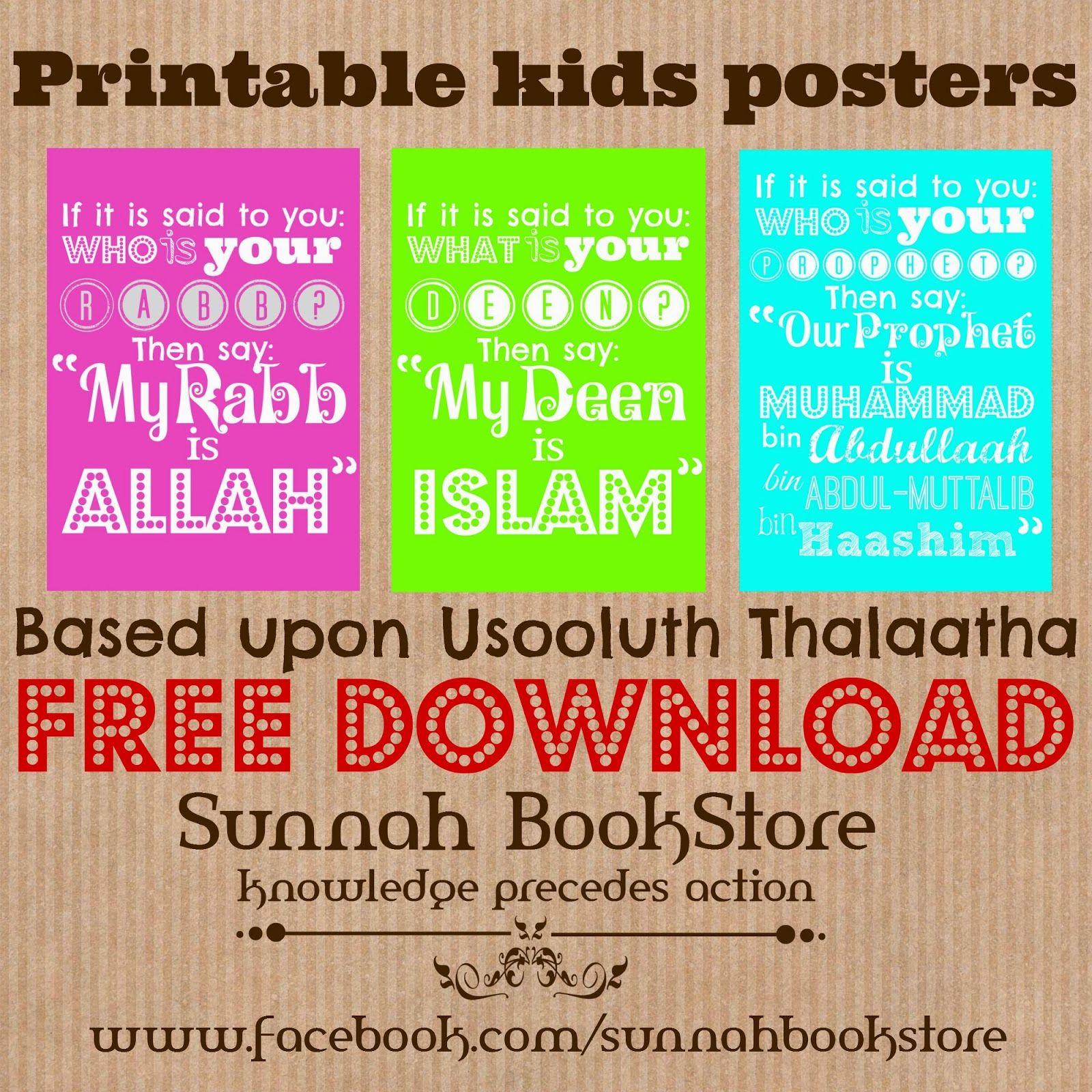 Printable Kids Posters Based Upon Usooluth Thalaatha! | Islamic - Free Printable Preschool Posters