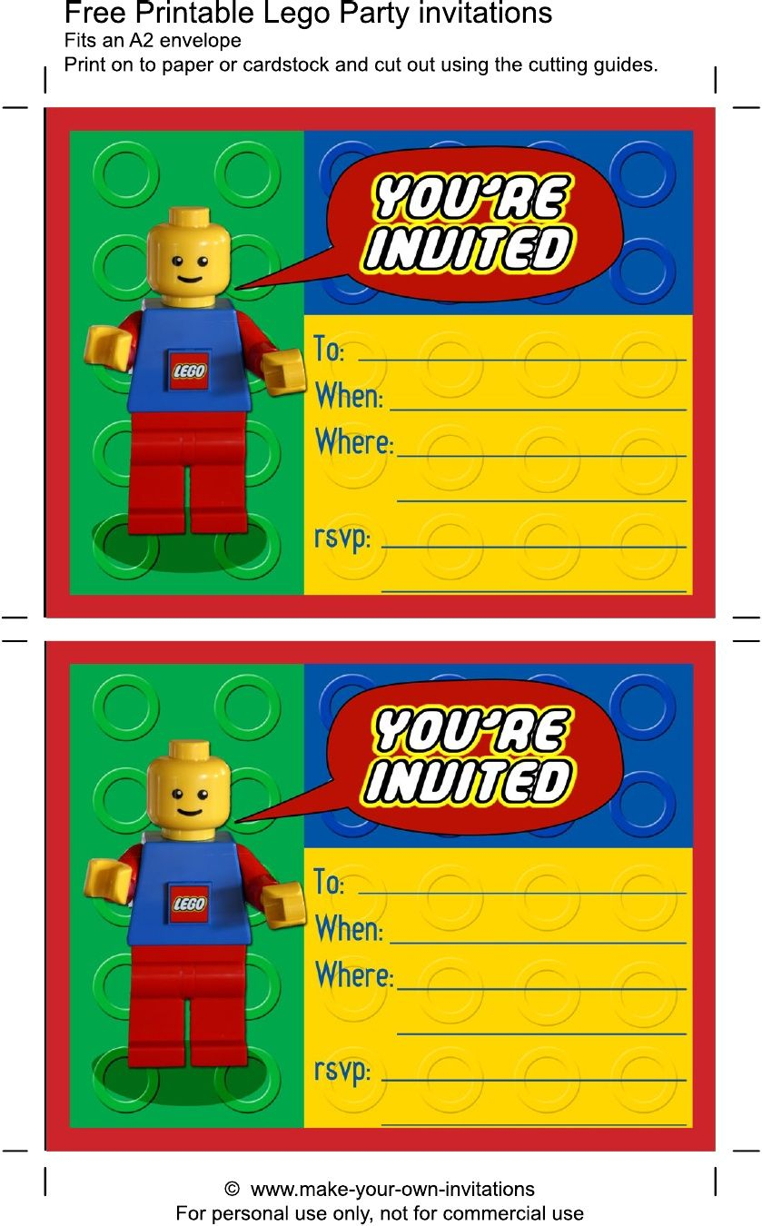 Printable Lego Birthday Invitations | Scribd | Aaron's Party In 2019 - Lego Party Invitations Printable Free