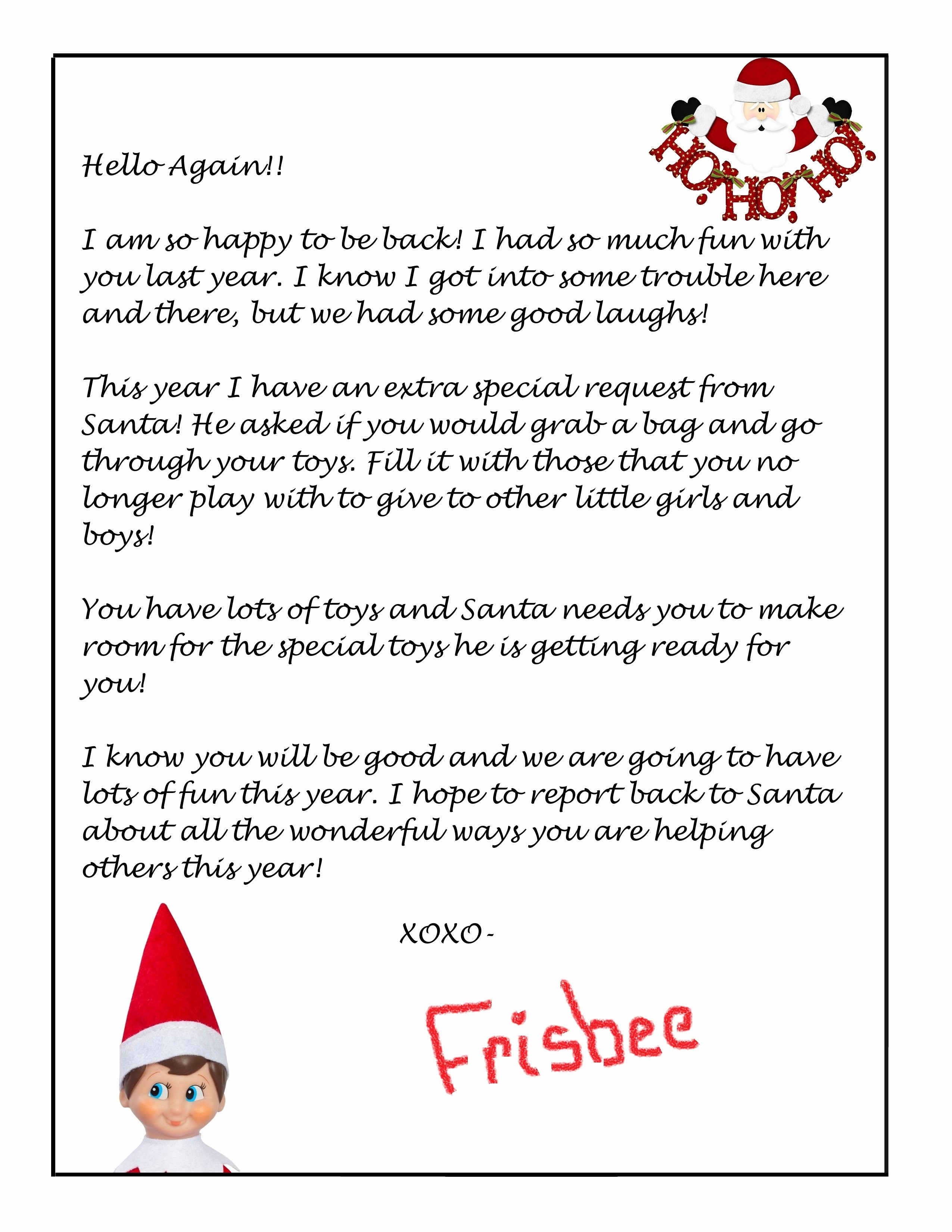 Printable Letter From Santa About Elf On The Shelf Save Printable - Free Printable Elf On Shelf Arrival Letter