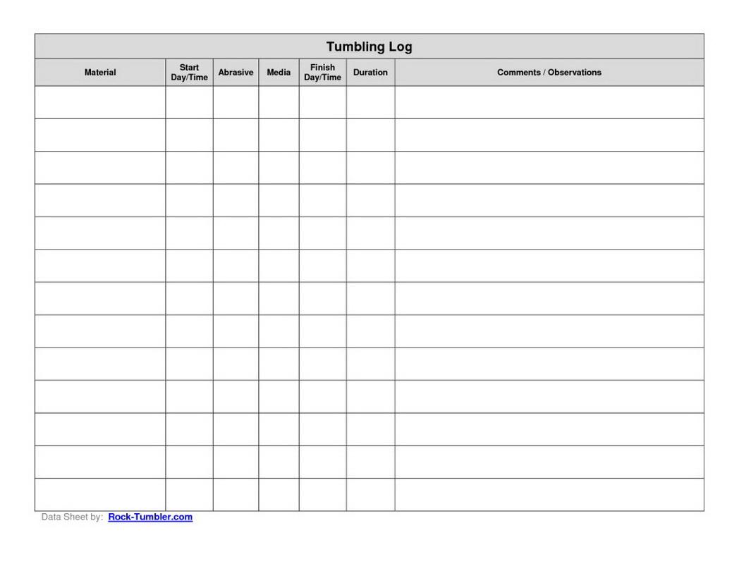 Printable Log Sheet | Hauck Mansion - Free Printable Data Sheets