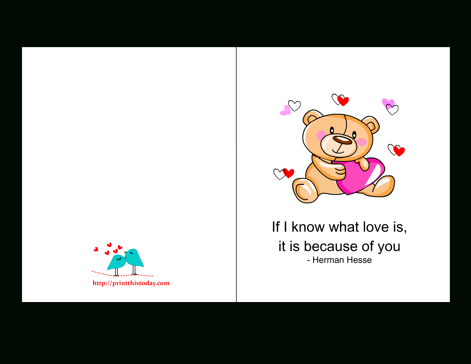 Printable Love Cards With Cute, Romantic And Thoughtful Quotes - Free Printable Love Greeting Cards