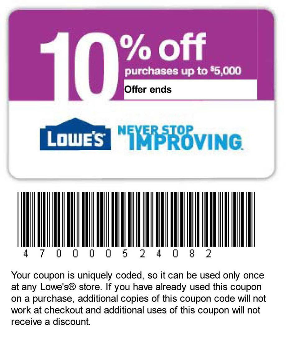 Printable Lowes Coupon 20% Off &10 Off Codes December 2016 - Lowes Coupons 20 Free Printable