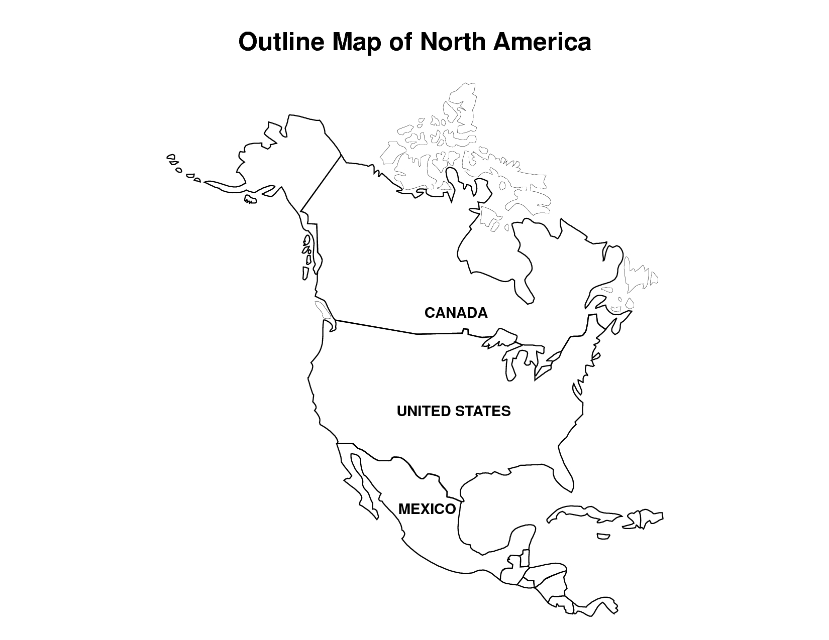 Printable Map Of North America | Pic Outline Map Of North America - Free Printable Outline Map Of North America