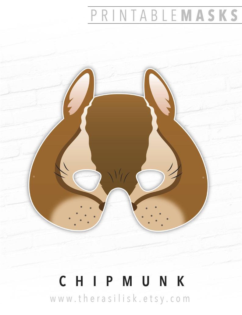 Printable Mask Halloween Animal Mask Chipmunk Mask Alvin | Etsy - Free Printable Chipmunk Mask