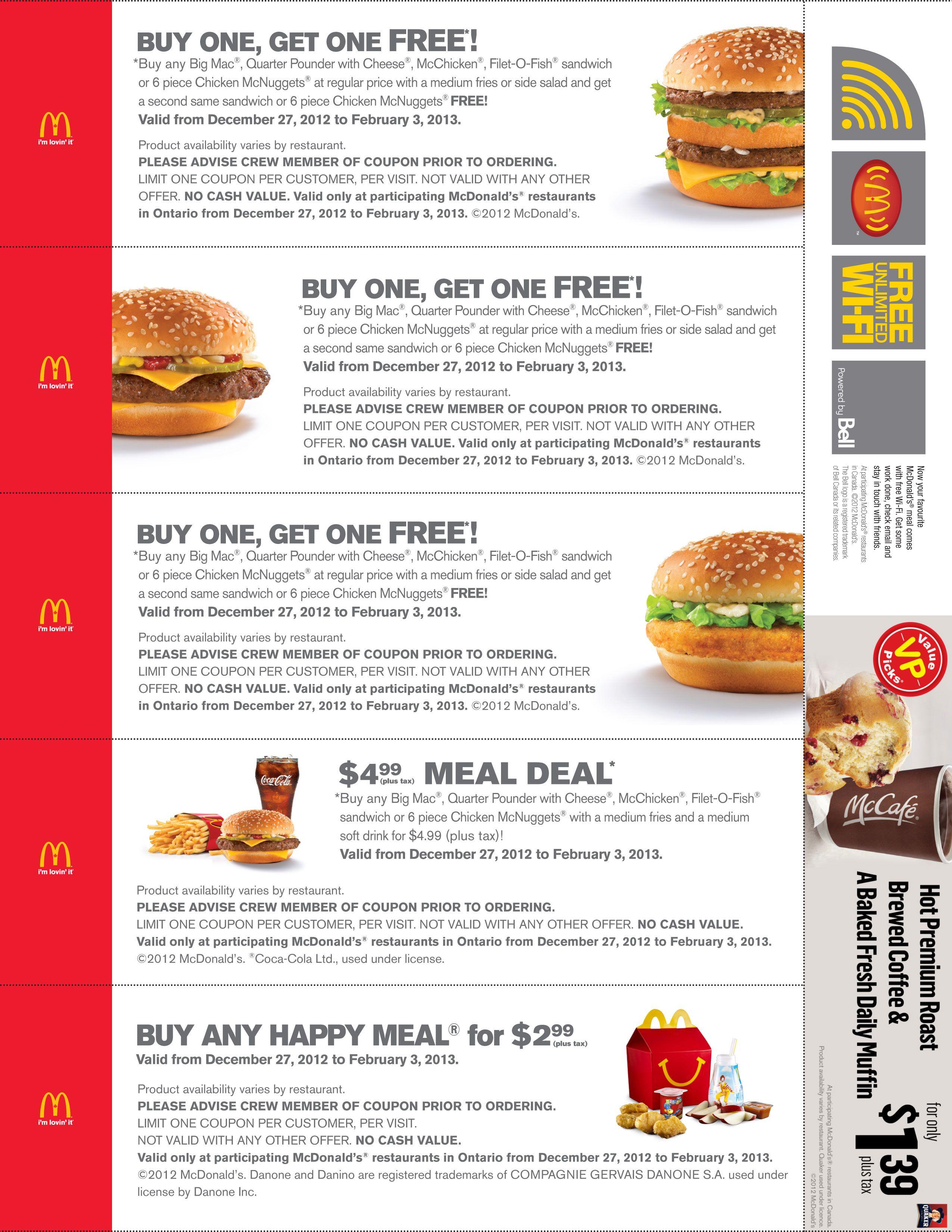 Printable Mcdonald Coupons 2014 | Stuff To Buy | Pinterest - Free Printable Mcdonalds Coupons Online