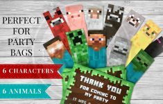 Printable Minecraft Bookmarks - Minecraft Party Supplies - Free Printable Minecraft Thank You Notes