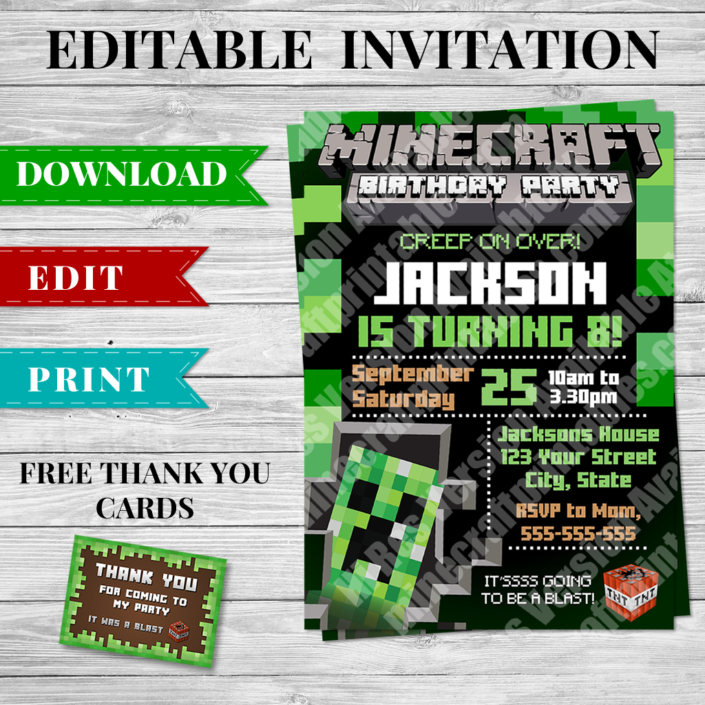 Printable Minecraft Creeper Invitation - Minecraft Birthday Party - Free Printable Minecraft Thank You Notes
