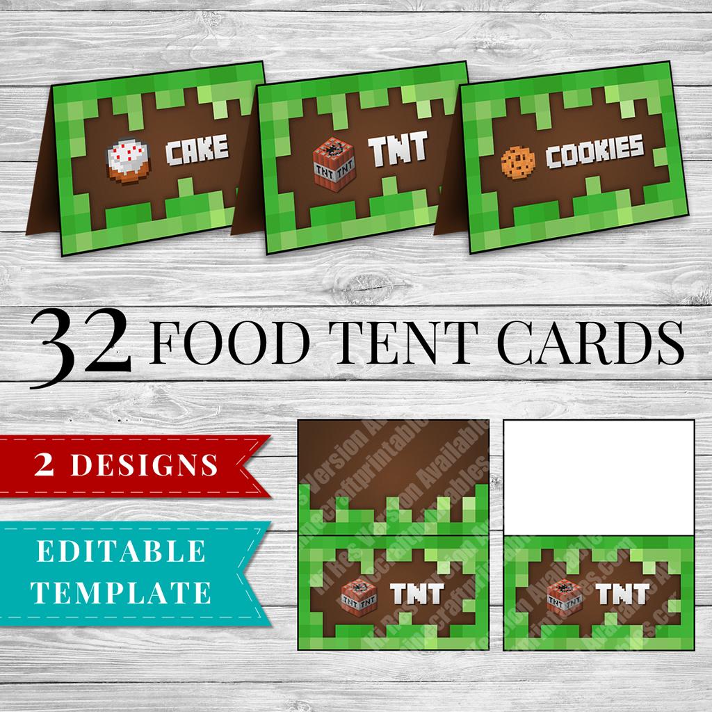 Printable Minecraft Food Labels - Minecraft Printable Birthday Party - Free Printable Minecraft Food Labels
