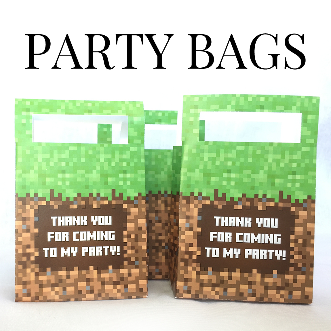 Printable Minecraft Party Favor Bags - Minecraft Printables - Free Printable Minecraft Thank You Notes