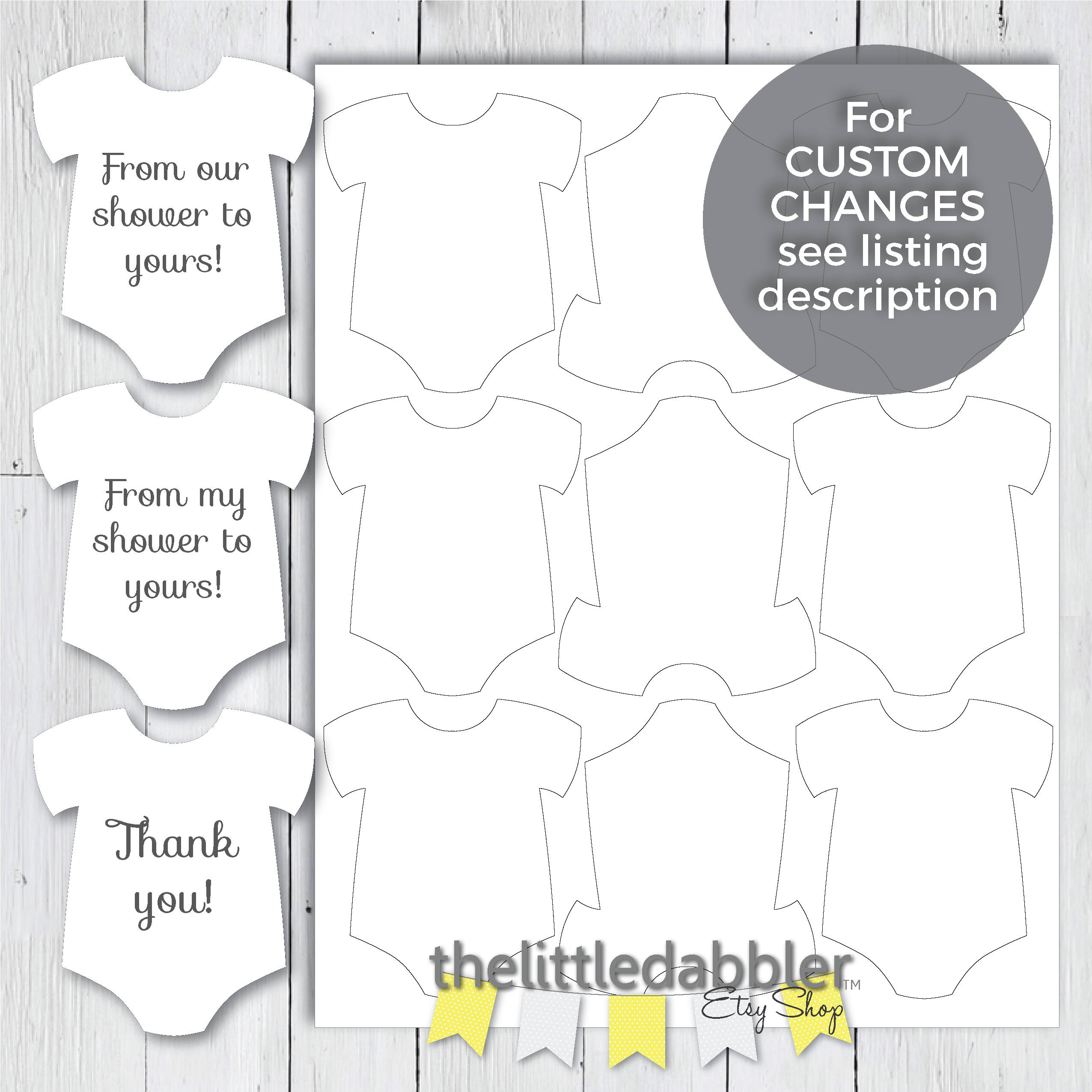 Printable Mini Onesie Baby Shower Favor Tags From Our | Etsy - Free Printable Onesie Pattern