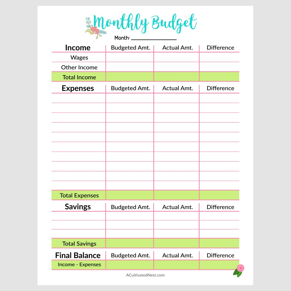 Printable Monthly Budget Template- A Cultivated Nest - Free Printable Monthly Budget