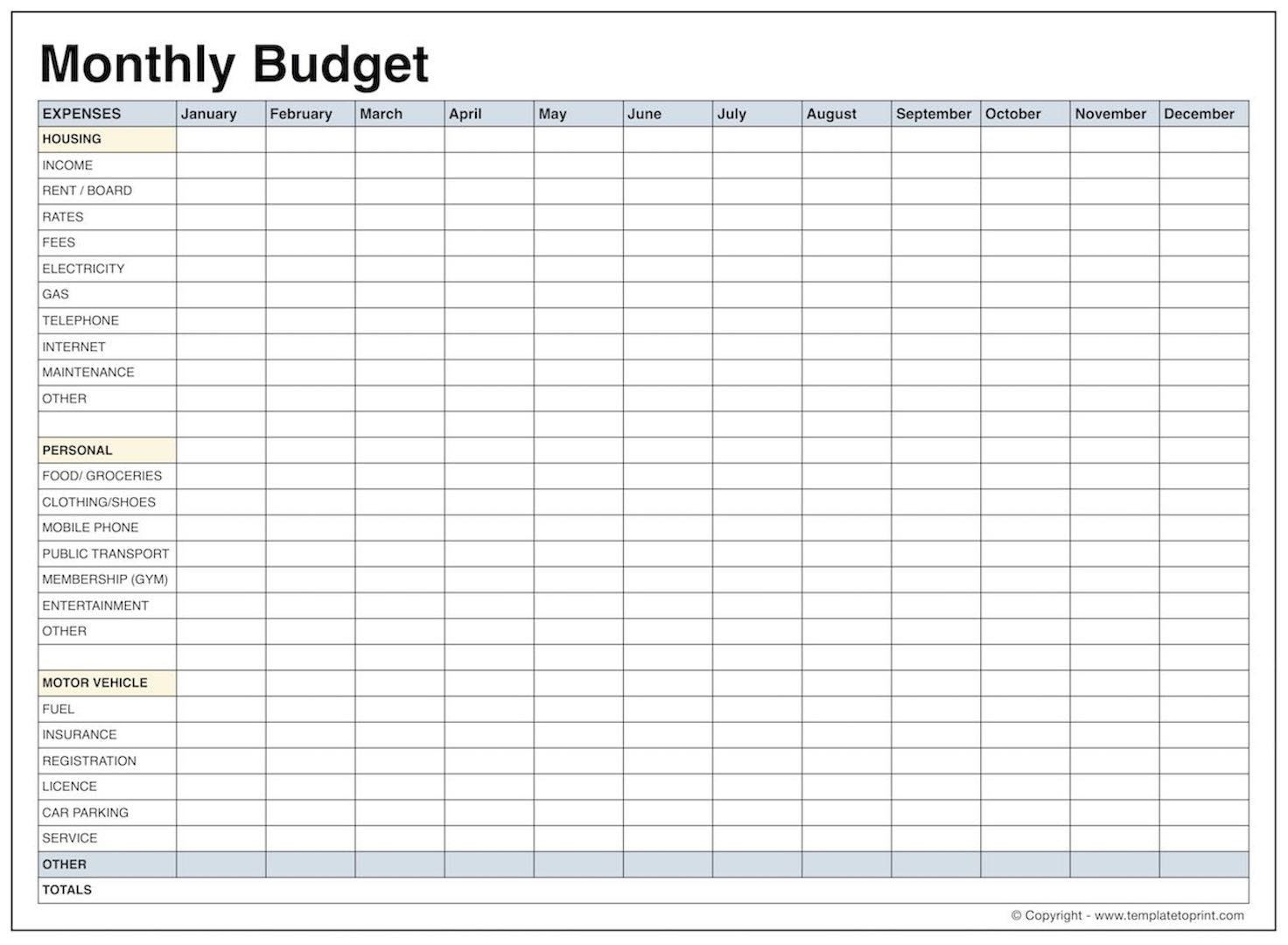 Printable Monthly Budget Template Blank Latter Day Depiction - Free Printable Monthly Budget