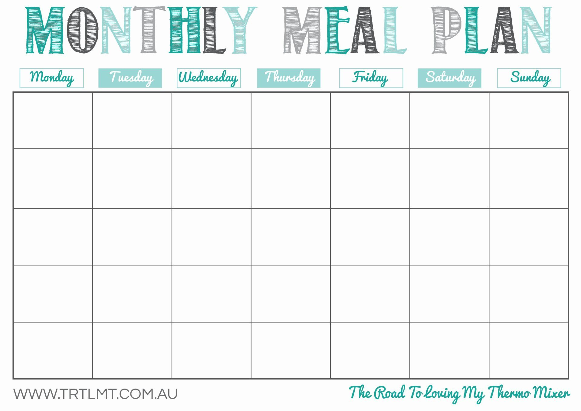 Printable Monthly Meal Planner | Organization In 2019 | Meal Planner - Free Printable Monthly Meal Planner