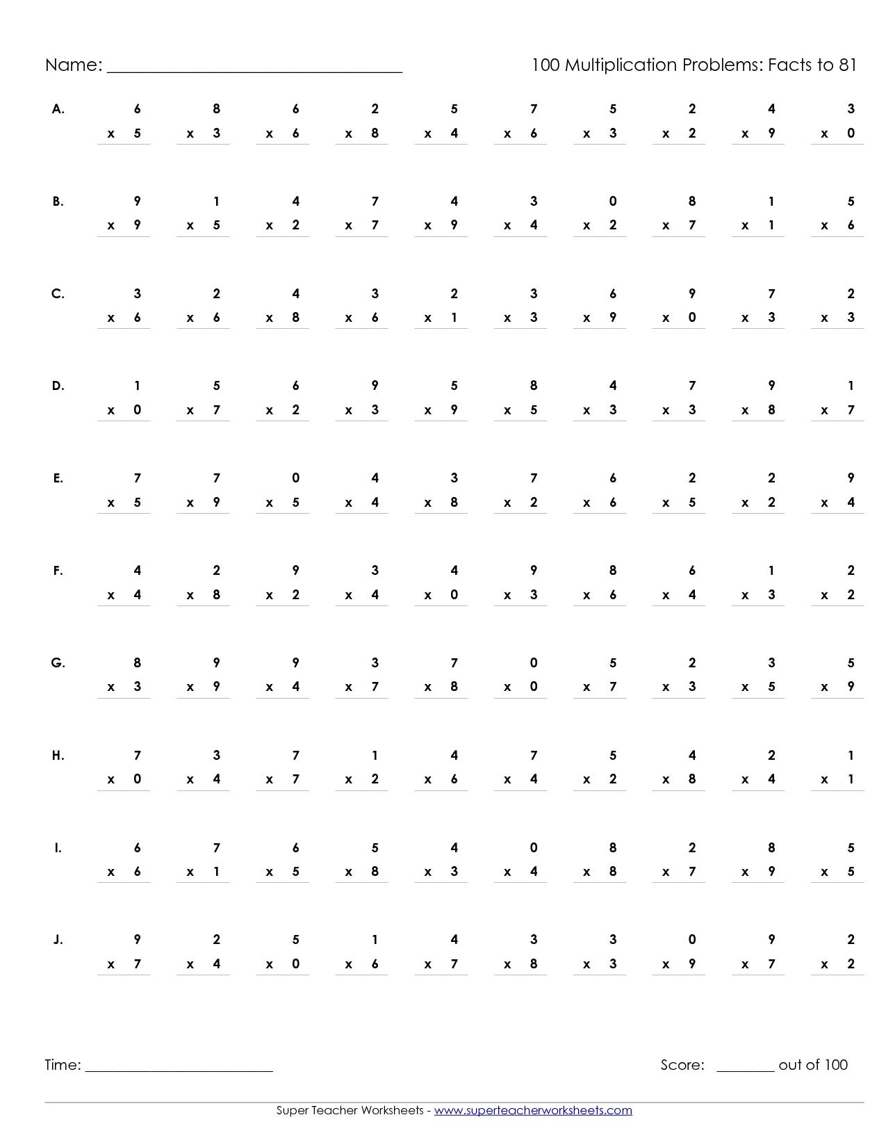 Printable Multiplication Worksheets 100 Problems | Math' S - Free Printable Multiplication Timed Tests